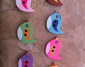 Colorful Wooden Bird Button - Set of 6