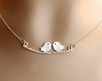 Kissing Love Two Birds On Branch Necklace, Sterling Silver Chain, Valentines day gift, Birthday Gifts,friendship,bridesmaid necklace jewelry