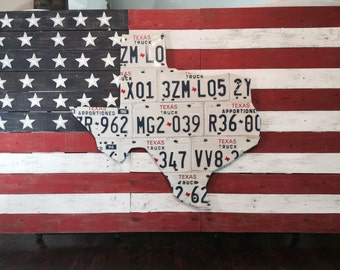 American Flag Distressed Wood Planked Texas License Plate Art