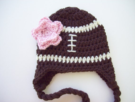Double Crochet Hat Pattern With Ear Flaps : Football Hat Baby Girl Hat Ear Flap Hat Crochet by ...