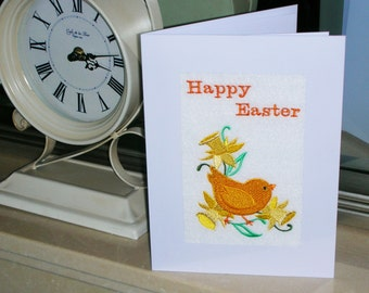 Machine embroidered  hand finished Easter card -  chick with daffodils