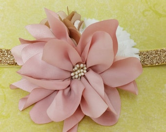 Evelyn Headband: gold glitter elastic headband with blush pink, gold, and white flowers