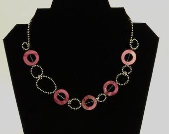 Circles Zipper Necklace- Purple