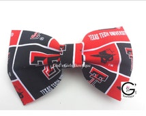 """6"""" Texas Tech Raiders NCAA Bow Outfit Girly Fan Gift Outfit Hair Accessory"""