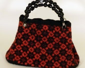 Hand felted Red and Black Faire Isle carpet bag
