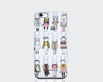 Multi Rabbit Print Case for iPhone 6, 6s, 6 Plus, 6s Plus, 5s, 5c, 4s. Bunny Designed by Fifi Lapin