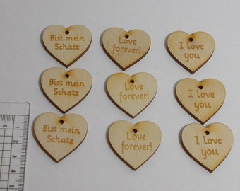 Wedding birthday table decorations wooden heart love engraved 9 piece forever, I love you