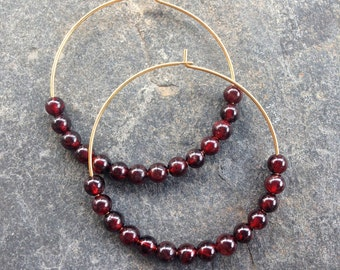 Beaded Garnet Hoop Earrings