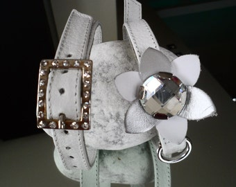 White rhinestone leather collar for a small dog, made in Italy
