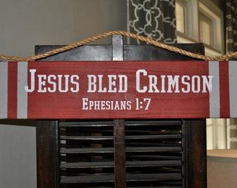 JESUS BLED CRIMSON Door Hanger Ephesians 1:7