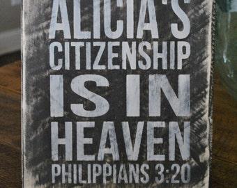 Personalized Scripture Wood Plaque Citizenship Philippians 3:20