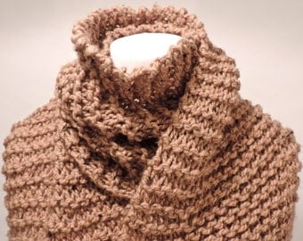 Deliciously soft hand knit scarf in a caramel yarn