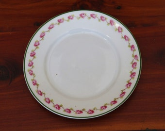 Antique Z.S. & Co. White and Vining Pink Rose Trimmed Plate