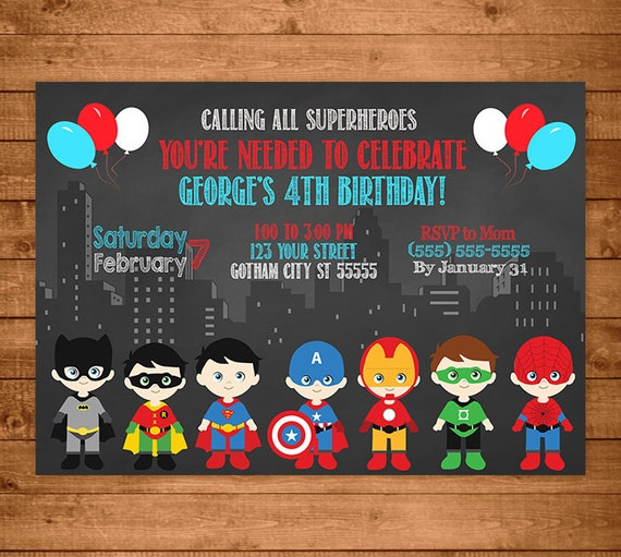 Superhero Invitation Chalkboard Theme -- Superhero Invite -- Superhero Birthday -- Superhero Party Favors
