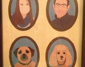 WITH FRAME | Illustrated Family Portrait 3-4 People/Pets
