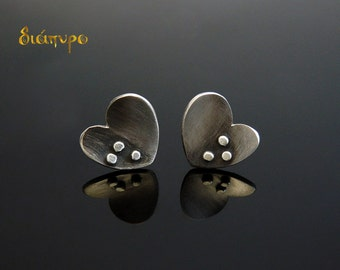 Sterling Silver Stud Earrings, Small Earrings, Handmade Silver, Heart Earrings, Post Earrings, Jewellery