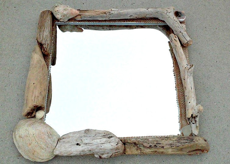 Miroir bois flott miroir de salle de bains d cor nautique for Salle de bain en bois flotte