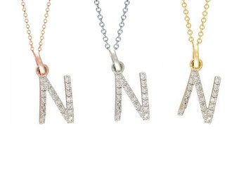 Tousi Jewelers Diamond Letter Necklace -N Alphabet Pendant -Solid 14K Gold- Gold Letter Necklace- 0.10 CT White Color Stone-Initial Jewelry