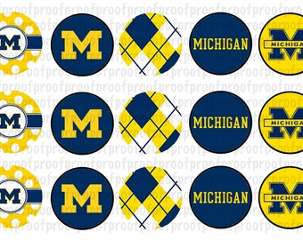 Michigan Wolverines Inspired Bottle Cap Images
