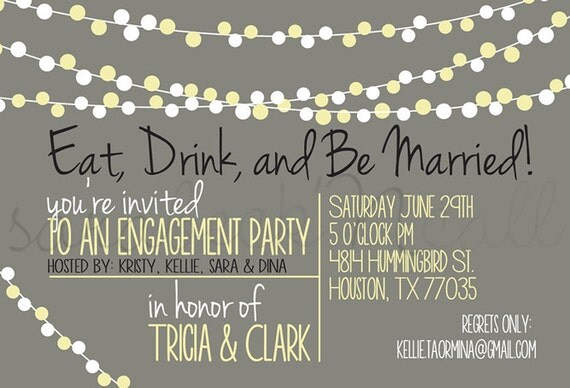 Wedding Invitations Eat Drink And Be Married: Wedding Engagement Party Invitation Eat Drink And By