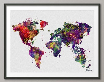 Watercolor World map watercolor poster watercolor art  watercolor map world map deocr print poster map decor watercolor world map A107-2