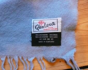 Vintage Glen Lossie Scarf  blue. Stylish vintage accessory.Made in Scotland