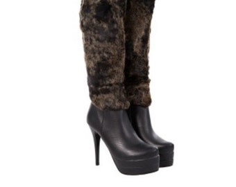 Gorgeous Faux Leather and Fur Platform Boots