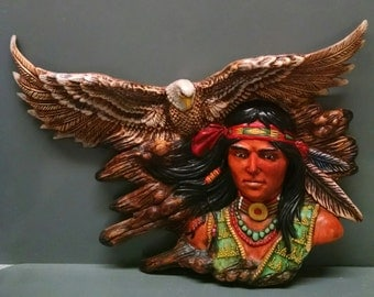 SALE!!!Spirits Watchful Eye--Native American Indian Figurine--Heirloom Quality--Hand-painted Ceramic--Home Decor--Native American Art