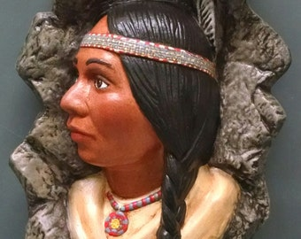 SALE!!Indian Maiden--Native American Indian Figurine--Heirloom Quality--Hand-painted Ceramic--Home Decor--Native American Art