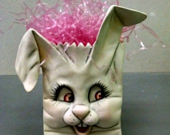 SALE--Bunny Bag--Heirloom Quality--Hand-painted Ceramic--Holiday Figurine Decor--Seasonal Figurine Decor--Home Decor--Patio Decor