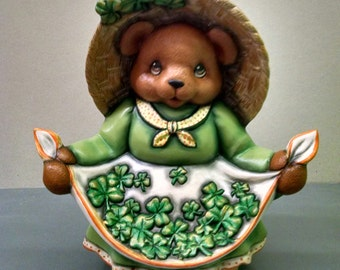 St. Patrick's Day Bear--Heirloom Quality--Hand-painted Ceramic--Holiday Figurine Decor--Seasonal Figurine Decor--Home Decor--Patio Decor