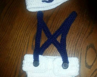 Crocheted newborn sailor outfit