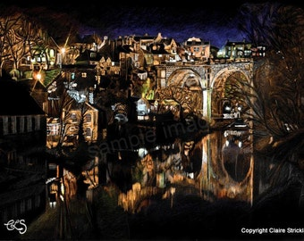 Knaresborough Night Reflections, Yorkshire. - Giclee Print of Original Pencil Mixed Media Drawing by English Artist Claire Strickland