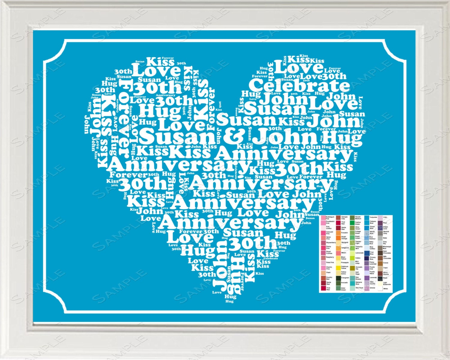 30th Wedding Anniversary Gifts For Him: 30th Anniversary Gift Word Art Print 30th By WordArtGifts