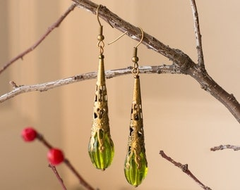 Green Ornate Earrings