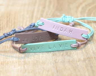 Leather bracelet name, text, personalise