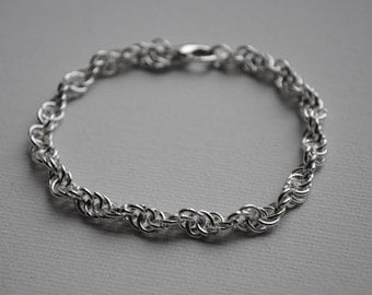 Sterling Silver Bracelet, Chain, Spiral Chainmaille, Spiral Bracelet, Handmade, Lobster Clasp, Jewellery