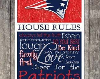 New England Patriots House Rules 4x4.1/2 Fridge Magnet