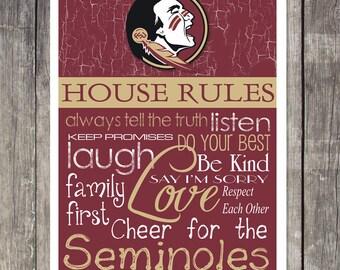 Florida State Seminoles House Rules 4x4.1/2 Fridge Magnet