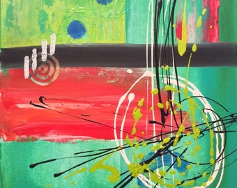 SOLD! COLLISION - original 16 x 20 abstract mixed media painting on canvas green aqua orange red blue teal black white retro bright wall art