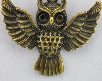 10 pcs of Antique Bronze Lovely Owl Charm Pendants 45x52mm ---J20746