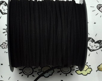 10 meters of Square  black Suede Faux Leather Ribbon Cords String ---J00226