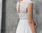"Wedding dress in Bohemian Style Designer Gown  Wedding gown from Chiffon French lace Boho dress Haute Couture dress-""Abba"""