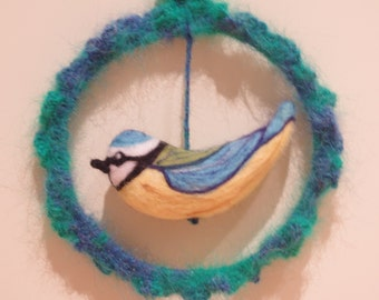 Handmade Wool Felted Blue Tit Hanging Decoration