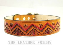 Hand Tooled and Painted Western Dog Collar, Rustic Dog Collar, Handmade Dog Collars