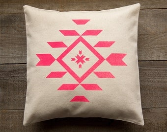 Organic Cotton Throw Pillow Neon Pink Screen Print
