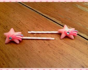 Bobby pins - set of 2 pink shooting stars