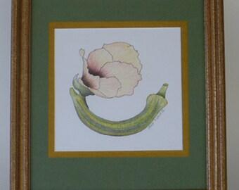 ORIGINAL ART, BOTANICAL Art, Okra Blossom, Flower, Floral