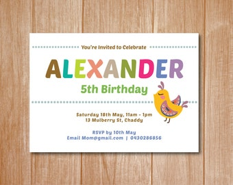 Bird Birthday Invitation Card - Printable