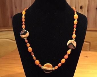 Kazuri and amber necklace